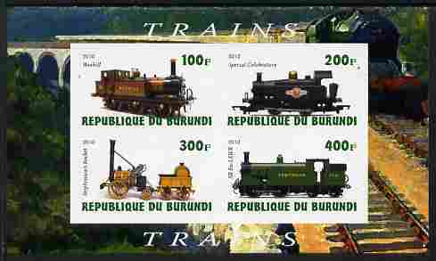 Burundi 2010 Steam Locomotives #1 imperf sheetlet containing 4 values unmounted mint