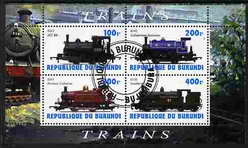 Burundi 2010 Steam Locomotives #2 perf sheetlet containing 4 values fine cto used