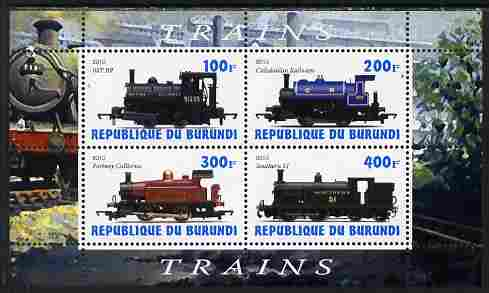 Burundi 2010 Steam Locomotives #2 perf sheetlet containing 4 values unmounted mint