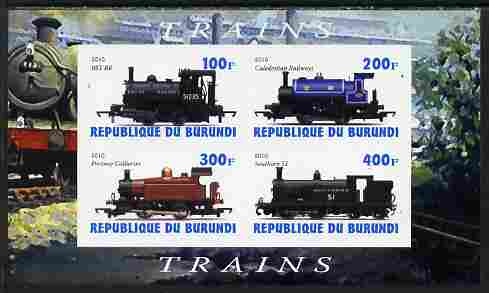 Burundi 2010 Steam Locomotives #2 imperf sheetlet containing 4 values unmounted mint