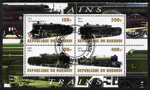 Burundi 2010 Steam Locomotives #3 perf sheetlet containing 4 values fine cto used
