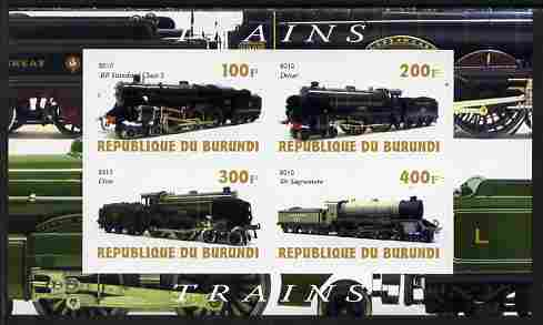 Burundi 2010 Steam Locomotives #3 imperf sheetlet containing 4 values unmounted mint