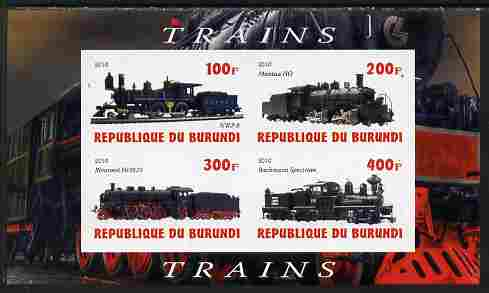 Burundi 2010 Steam Locomotives #4 imperf sheetlet containing 4 values unmounted mint