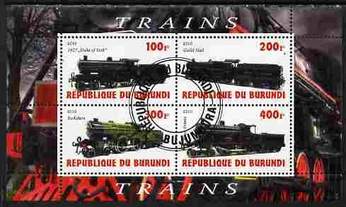 Burundi 2010 Steam Locomotives #5 perf sheetlet containing 4 values fine cto used