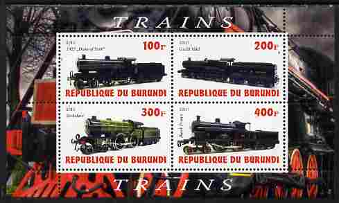 Burundi 2010 Steam Locomotives #5 perf sheetlet containing 4 values unmounted mint