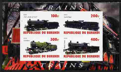Burundi 2010 Steam Locomotives #5 imperf sheetlet containing 4 values unmounted mint