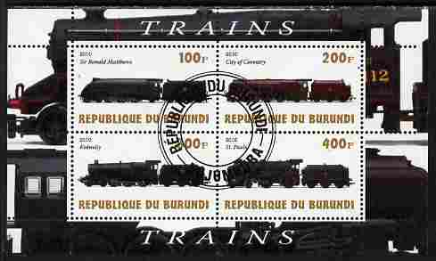 Burundi 2010 Steam Locomotives #6 perf sheetlet containing 4 values fine cto used