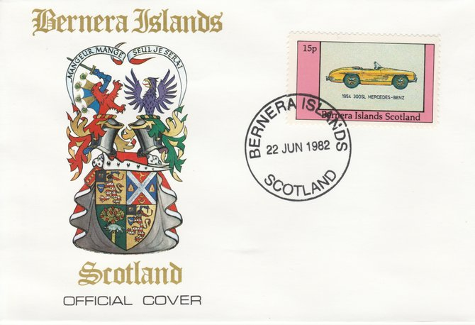 Bernera 1982 Sports Cars - 1954 300SL Mercedes-Benz perf 15p on official cover with first day cancel