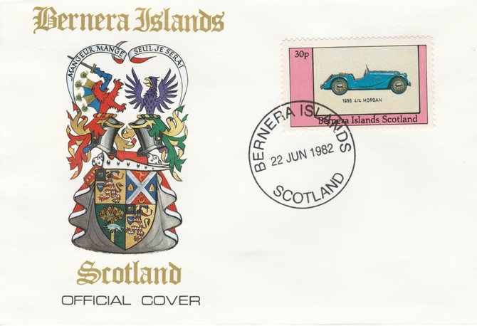 Bernera 1982 Sports Cars - 1956 4/4 Morgan perf 30p on official cover with first day cancel
