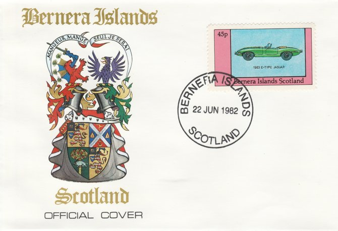 Bernera 1982 Sports Cars - 1963 E-Type Jaguar perf 45p on official cover with first day cancel
