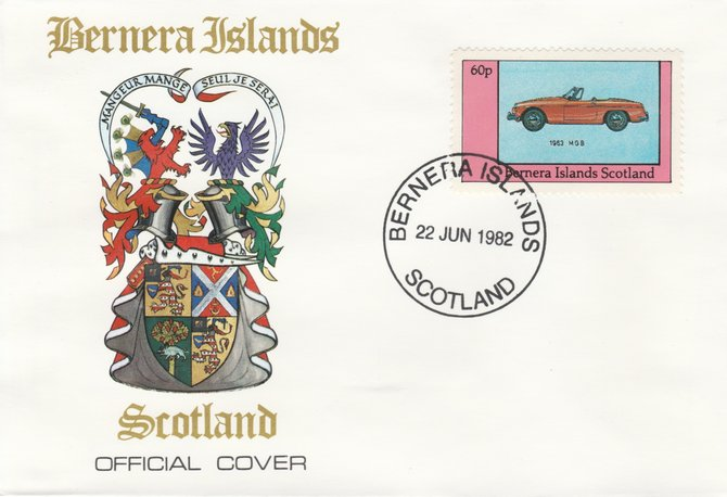 Bernera 1982 Sports Cars - 1963 MGB perf 60p on official cover with first day cancel