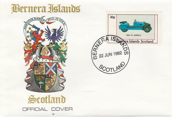 Bernera 1982 Sports Cars - 1934 F4 Morgan imperf 30p on official cover with first day cancel