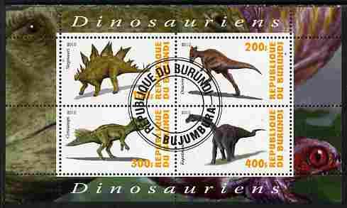Burundi 2010 Dinosaurs #1 perf sheetlet containing 4 values fine cto used