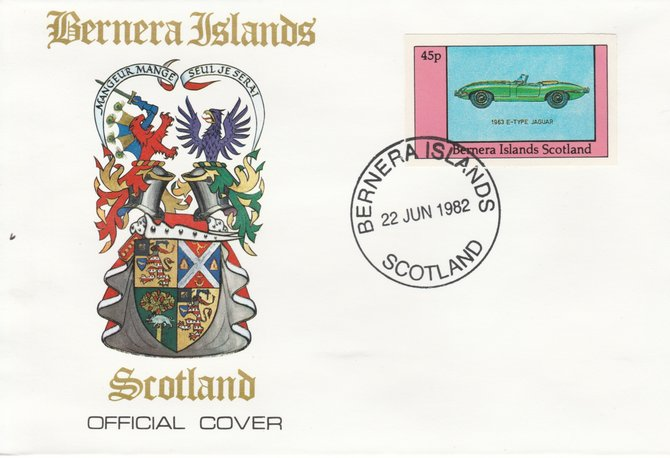 Bernera 1982 Sports Cars - 1963 E-Type Jaguar imperf 45p on official cover with first day cancel