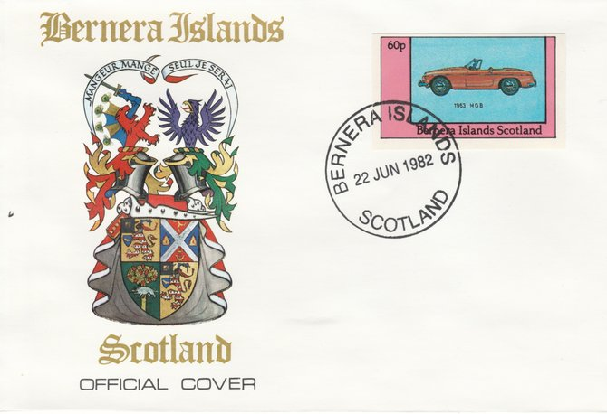 Bernera 1982 Sports Cars - 1963 MGB imperf 60p on official cover with first day cancel