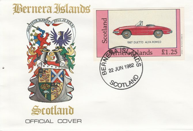 Bernera 1982 Sports Cars - 1967 Duetto Alfa Romeo imperf \A31.25 on official cover with first day cancel