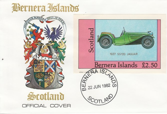 Bernera 1982 Sports Cars - 1937 SS100 Jaguar imperf \A32.50 on official cover with first day cancel