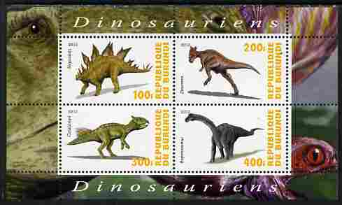 Burundi 2010 Dinosaurs #1 perf sheetlet containing 4 values unmounted mint
