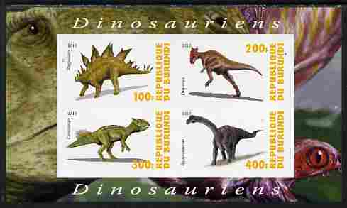 Burundi 2010 Dinosaurs #1 imperf sheetlet containing 4 values unmounted mint