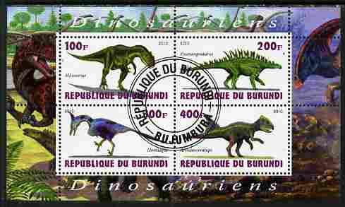 Burundi 2010 Dinosaurs #2 perf sheetlet containing 4 values fine cto used