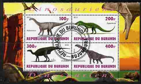 Burundi 2010 Dinosaurs #3 perf sheetlet containing 4 values fine cto used