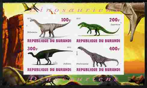 Burundi 2010 Dinosaurs #3 imperf sheetlet containing 4 values unmounted mint