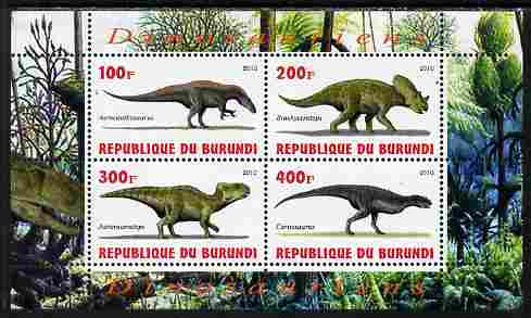 Burundi 2010 Dinosaurs #4 perf sheetlet containing 4 values unmounted mint