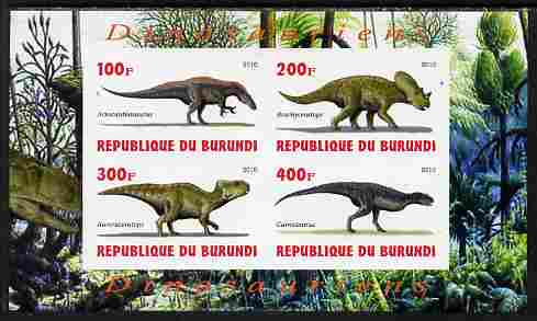 Burundi 2010 Dinosaurs #4 imperf sheetlet containing 4 values unmounted mint
