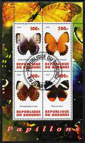 Burundi 2010 Butterflies #1 perf sheetlet containing 4 values fine cto used