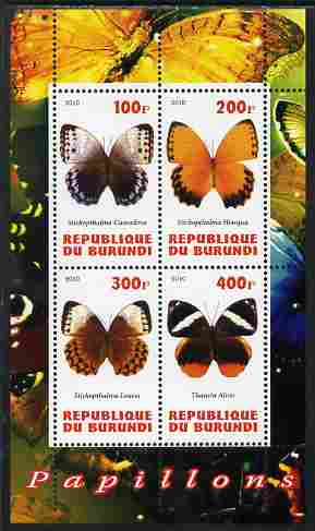Burundi 2010 Butterflies #1 perf sheetlet containing 4 values unmounted mint