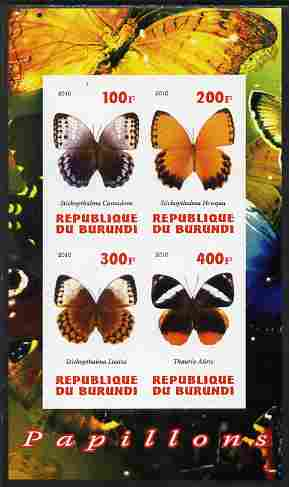 Burundi 2010 Butterflies #1 imperf sheetlet containing 4 values unmounted mint