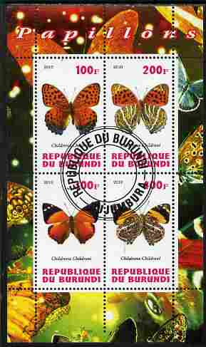 Burundi 2010 Butterflies #2 perf sheetlet containing 4 values fine cto used
