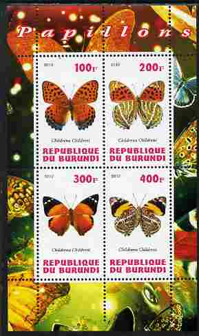 Burundi 2010 Butterflies #2 perf sheetlet containing 4 values unmounted mint
