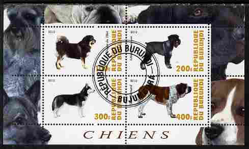 Burundi 2010 Dogs #2 perf sheetlet containing 4 values fine cto used