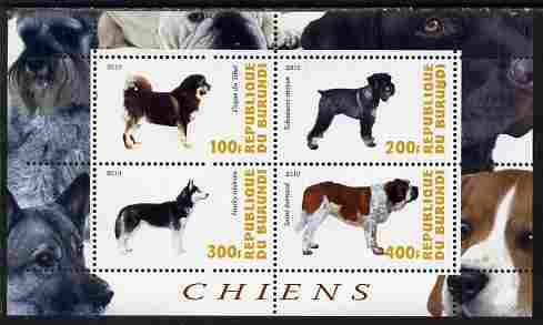 Burundi 2010 Dogs #2 perf sheetlet containing 4 values unmounted mint