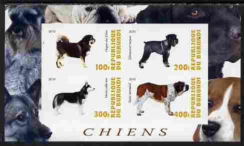 Burundi 2010 Dogs #2 imperf sheetlet containing 4 values unmounted mint