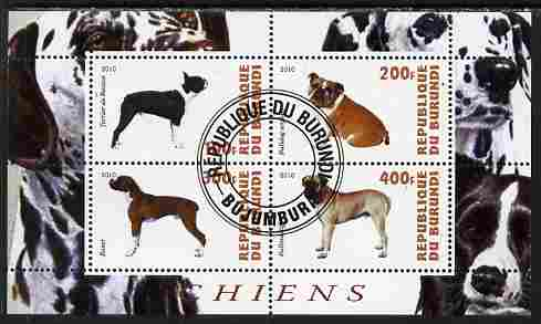 Burundi 2010 Dogs #3 perf sheetlet containing 4 values fine cto used