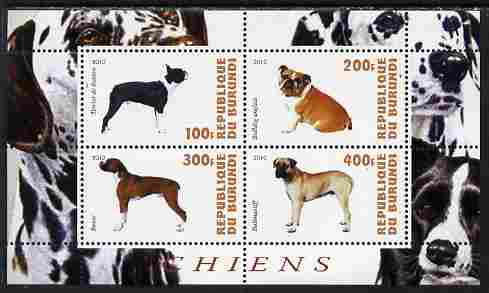 Burundi 2010 Dogs #3 perf sheetlet containing 4 values unmounted mint