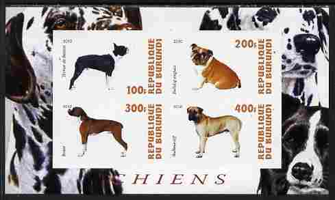 Burundi 2010 Dogs #3 imperf sheetlet containing 4 values unmounted mint