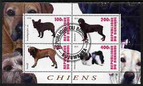 Burundi 2010 Dogs #4 perf sheetlet containing 4 values fine cto used
