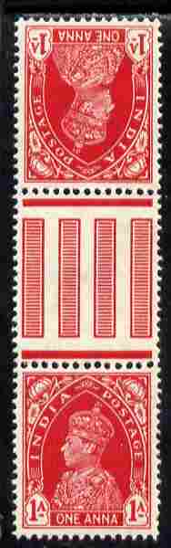 India 1937-40 KG6 1a carmine tete-beche gutter-pair unmounted mint as SG 250a, stamps on , stamps on  kg6 , stamps on