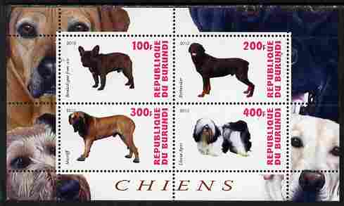 Burundi 2010 Dogs #4 perf sheetlet containing 4 values unmounted mint