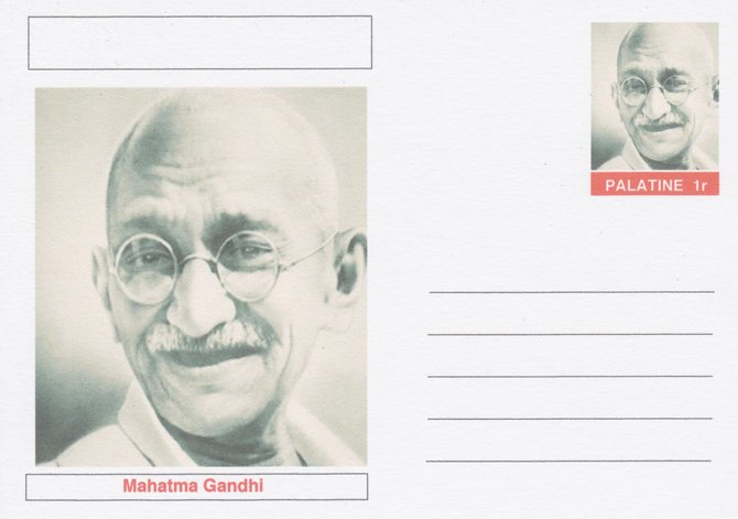 Palatine (Fantasy) Personalities - Mahatma Gandhi postal stationery card unused and fine