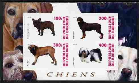 Burundi 2010 Dogs #4 imperf sheetlet containing 4 values unmounted mint