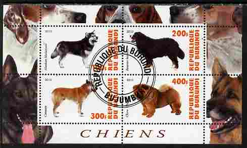 Burundi 2010 Dogs #5 perf sheetlet containing 4 values fine cto used