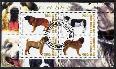 Burundi 2010 Dogs #7 perf sheetlet containing 4 values fine cto used