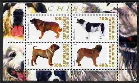 Burundi 2010 Dogs #7 perf sheetlet containing 4 values unmounted mint
