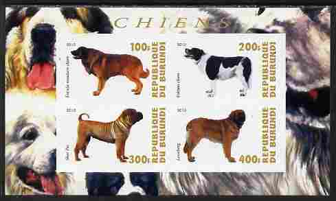 Burundi 2010 Dogs #7 imperf sheetlet containing 4 values unmounted mint