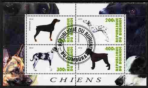 Burundi 2010 Dogs #8 perf sheetlet containing 4 values fine cto used