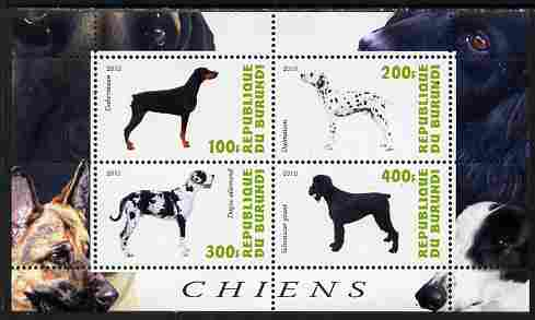 Burundi 2010 Dogs #8 perf sheetlet containing 4 values unmounted mint